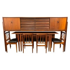 Vintage British Midcentury Teak Credenza-Dining Set by Elliotts of Newbury