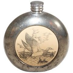 Vintage British Pewter Liquor or Spirits Flask, Sheffield