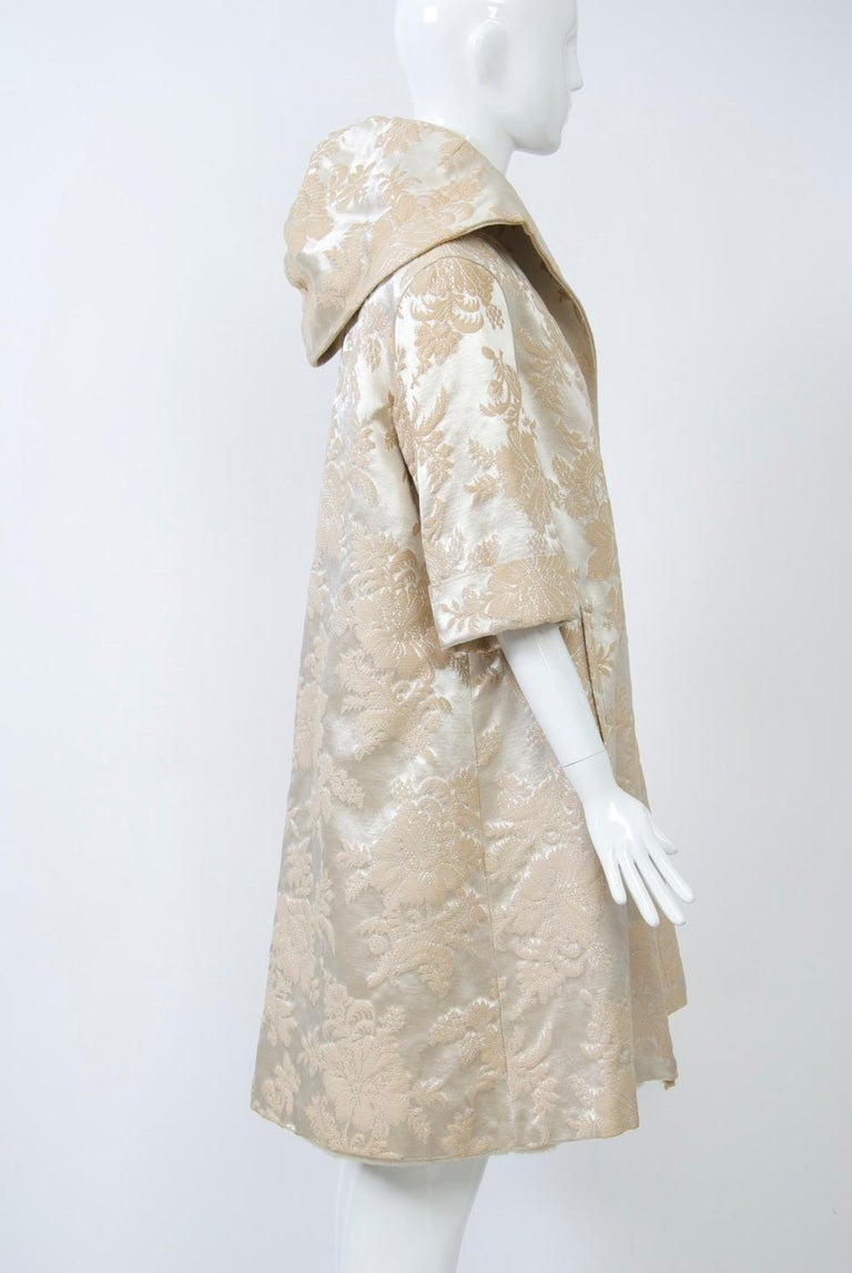 Women's Vintage Brocade Coat with Plush Lining For Sale
