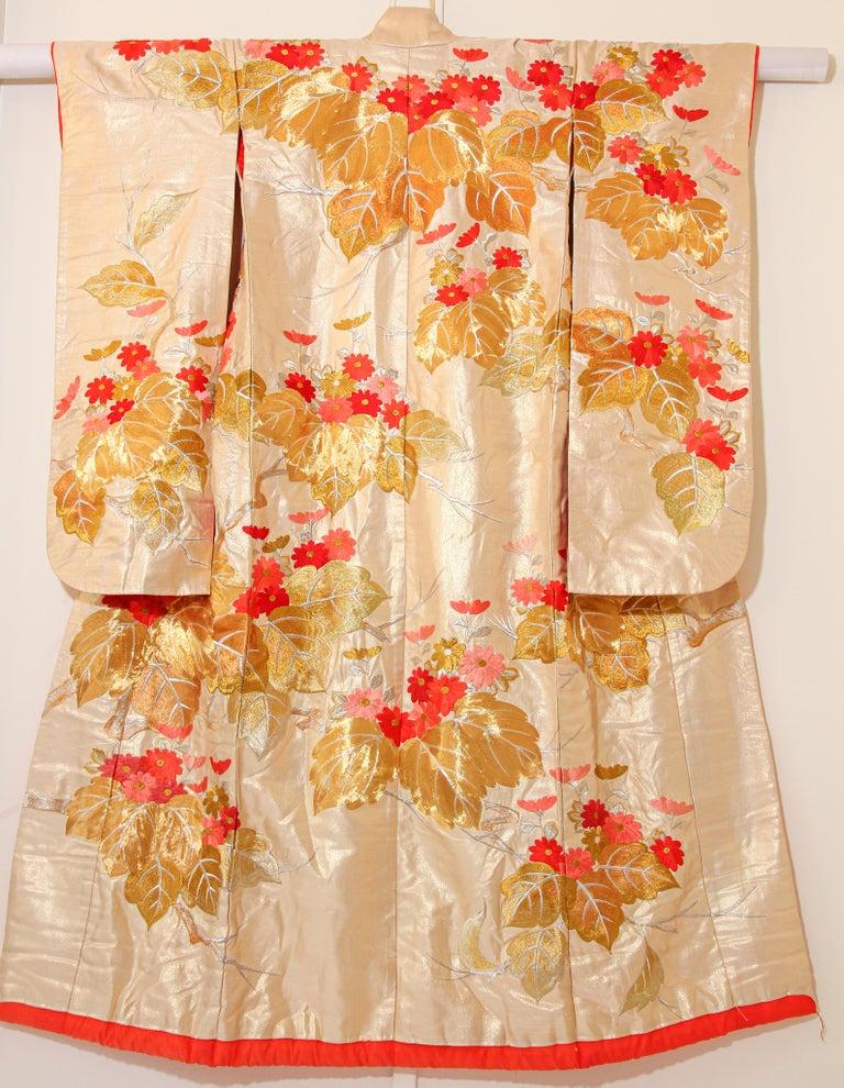 Vintage Brocade Japanese Ceremonial Kimono For Sale 9