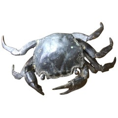 Vintage Bronze Articulated Crab Sculpture