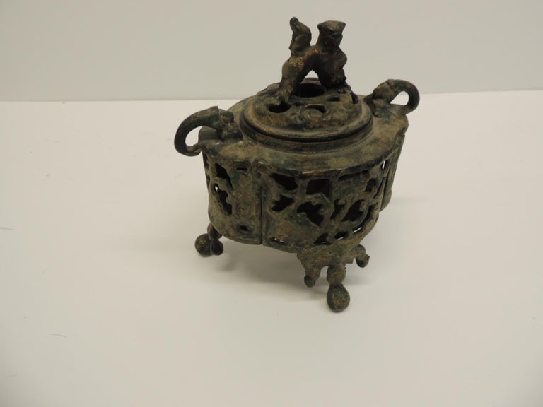 Vintage Bronze Asian Incense Burner with Foo Dog Cover Lid In Good Condition For Sale In Oakland Park, FL