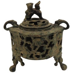 Vintage Bronze Asian Incense Burner with Foo Dog Cover Lid