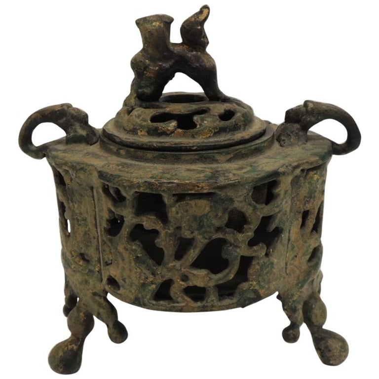 Vintage Bronze Asian Incense Burner with Foo Dog Cover Lid For Sale