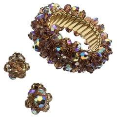 Vintage Bronze Aurora Borealis Cha-Cha Bracelet 1950S