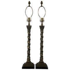 Vintage Bronze Barley Twisted Table Lamps Corinthian Column Cherub Marble