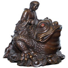 Vintage Bronze Chinese Jin Chan / Chan Chu Wealth Calling Toad Frog Good Luck