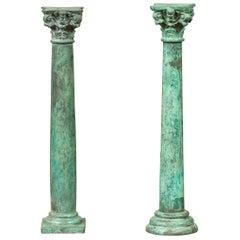 Vintage Bronze Corinthian Column Candlestick with Verdigris Patina and Cherubs