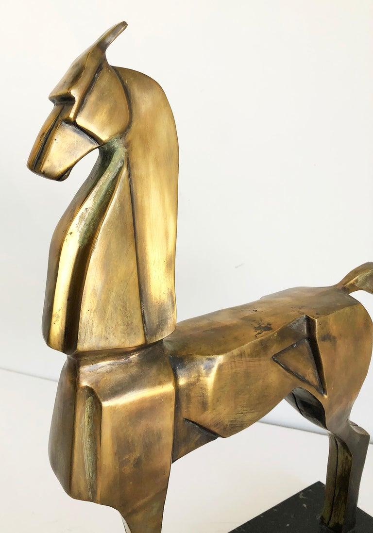 Cast Vintage Bronze Cubist Abstract Horse Sculpture, Art Deco Style For Sale