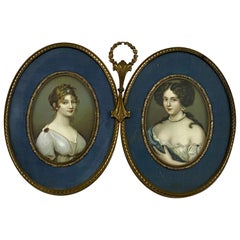 Vintage Bronze Double Miniature Portrait Frame W/ Prints