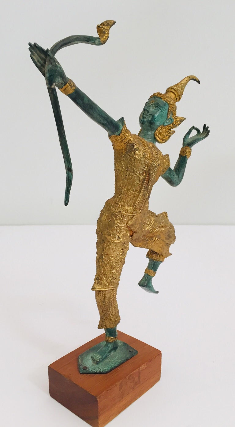 Vintage Bronze Gold and Green Thai Figurine of Prince Rama with a Bow For Sale 6