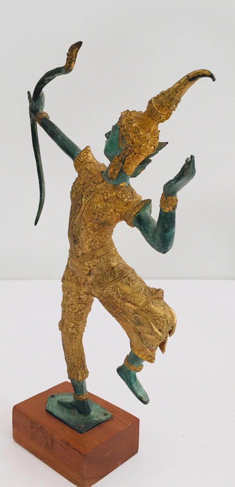 Vintage Bronze Gold and Green Thai Figurine of Prince Rama with a Bow For Sale 7