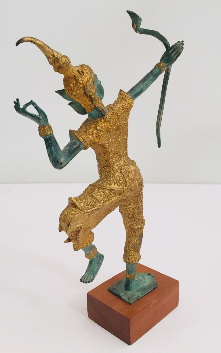 Vintage Bronze Gold and Green Thai Figurine of Prince Rama with a Bow For Sale 8
