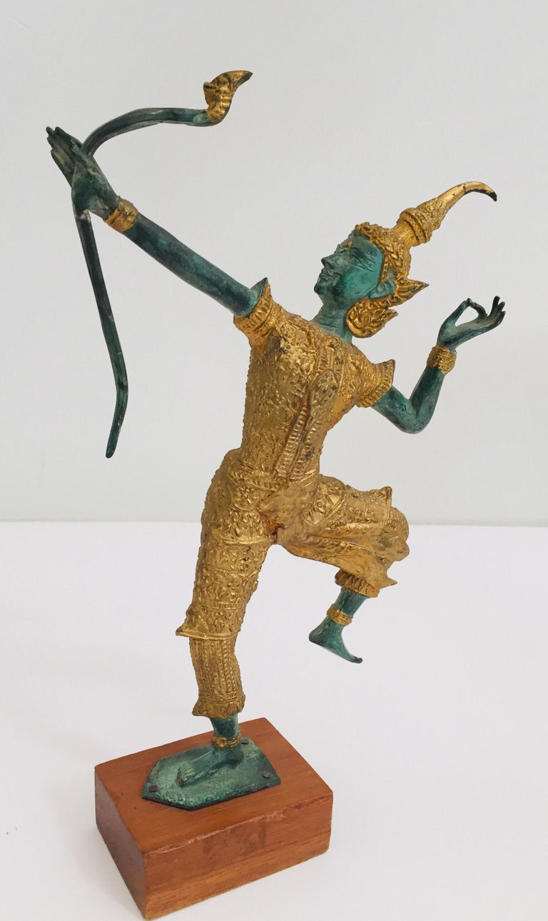 Folk Art Vintage Bronze Gold and Green Thai Figurine of Prince Rama with a Bow For Sale