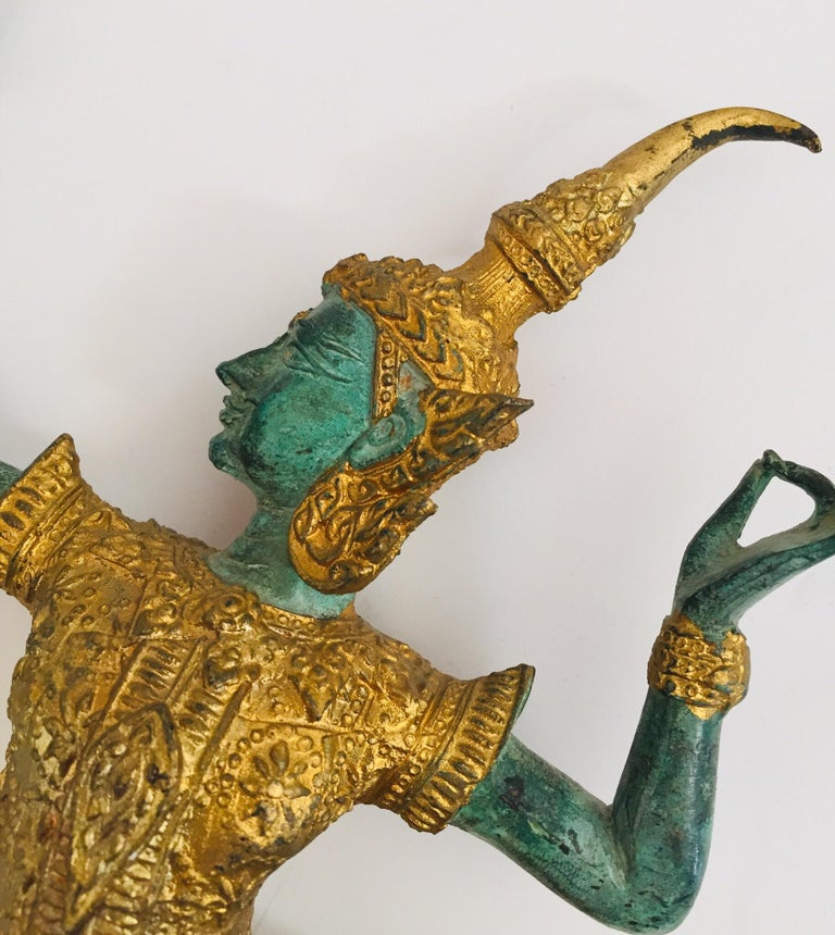 Cast Vintage Bronze Gold and Green Thai Figurine of Prince Rama with a Bow For Sale