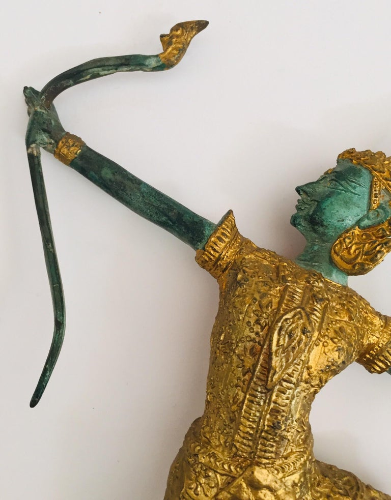 Vintage Bronze Gold and Green Thai Figurine of Prince Rama with a Bow In Good Condition For Sale In Los Angeles, CA