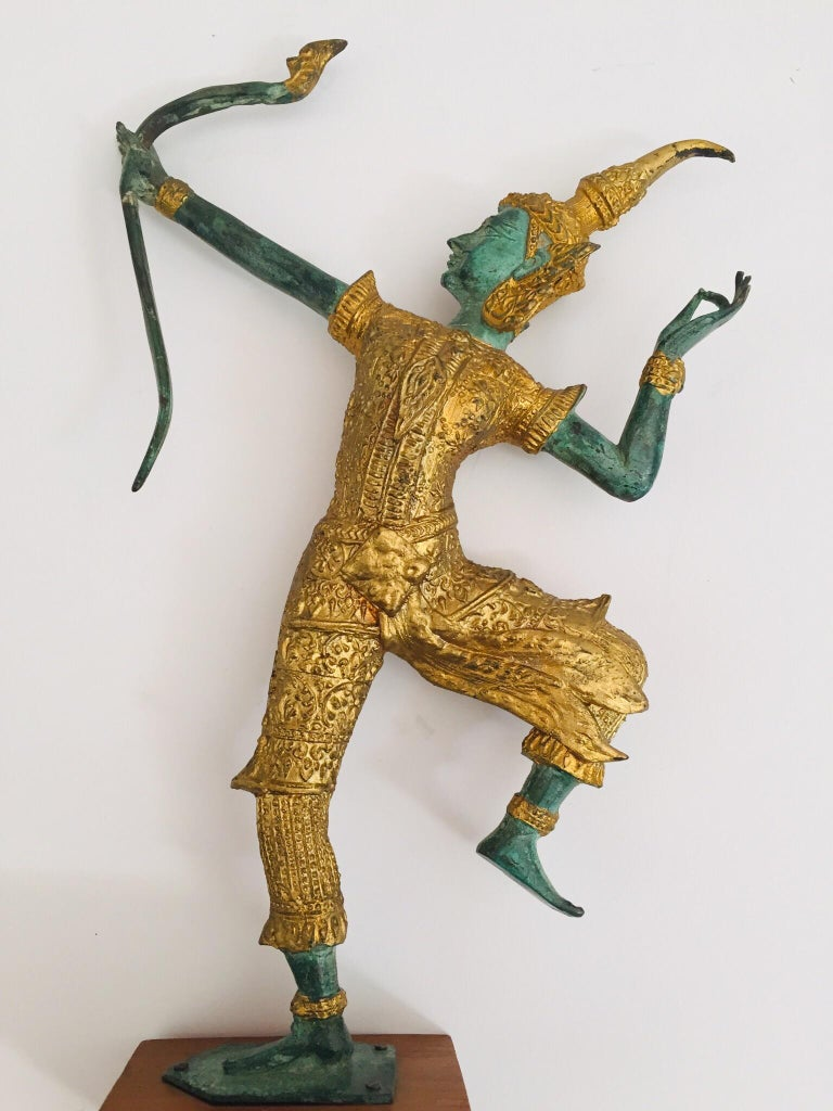 20th Century Vintage Bronze Gold and Green Thai Figurine of Prince Rama with a Bow For Sale