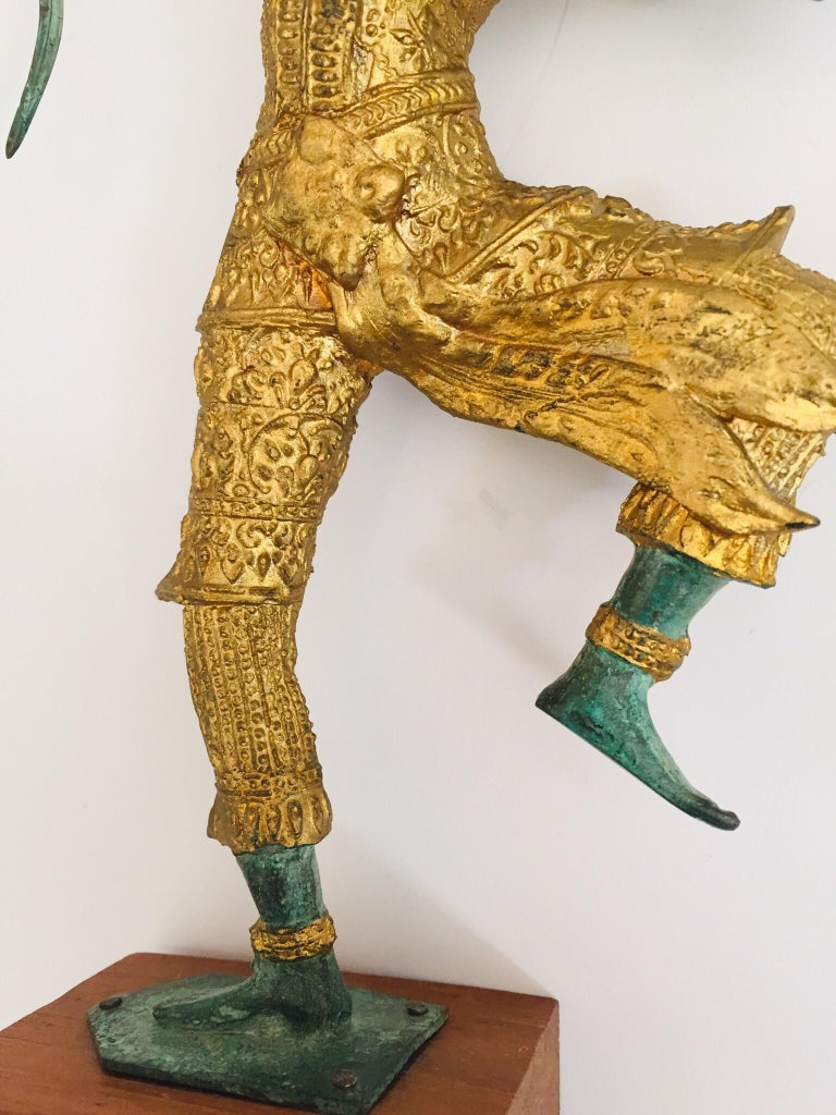 Vintage Bronze Gold and Green Thai Figurine of Prince Rama with a Bow For Sale 2