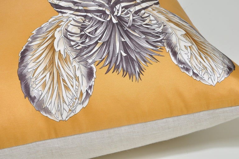 Custom made one-of-a-kind cushion (pillow) created from a stunning rare vintage, circa 1970s silk Salvatore Ferragamo fashion scarf in an elaborate flora and fauna design. Salvatore Ferragamo was an innovative shoe designer from Milan renowned for