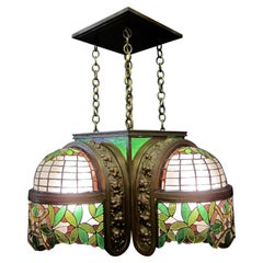 Vintage Bronze and Leaded Glass 1920s-1930s Ceiling Fixture