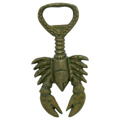 Vintage Bronze Lobster Bottle Opener Mid-Century Modern Metal Breweriana Barware