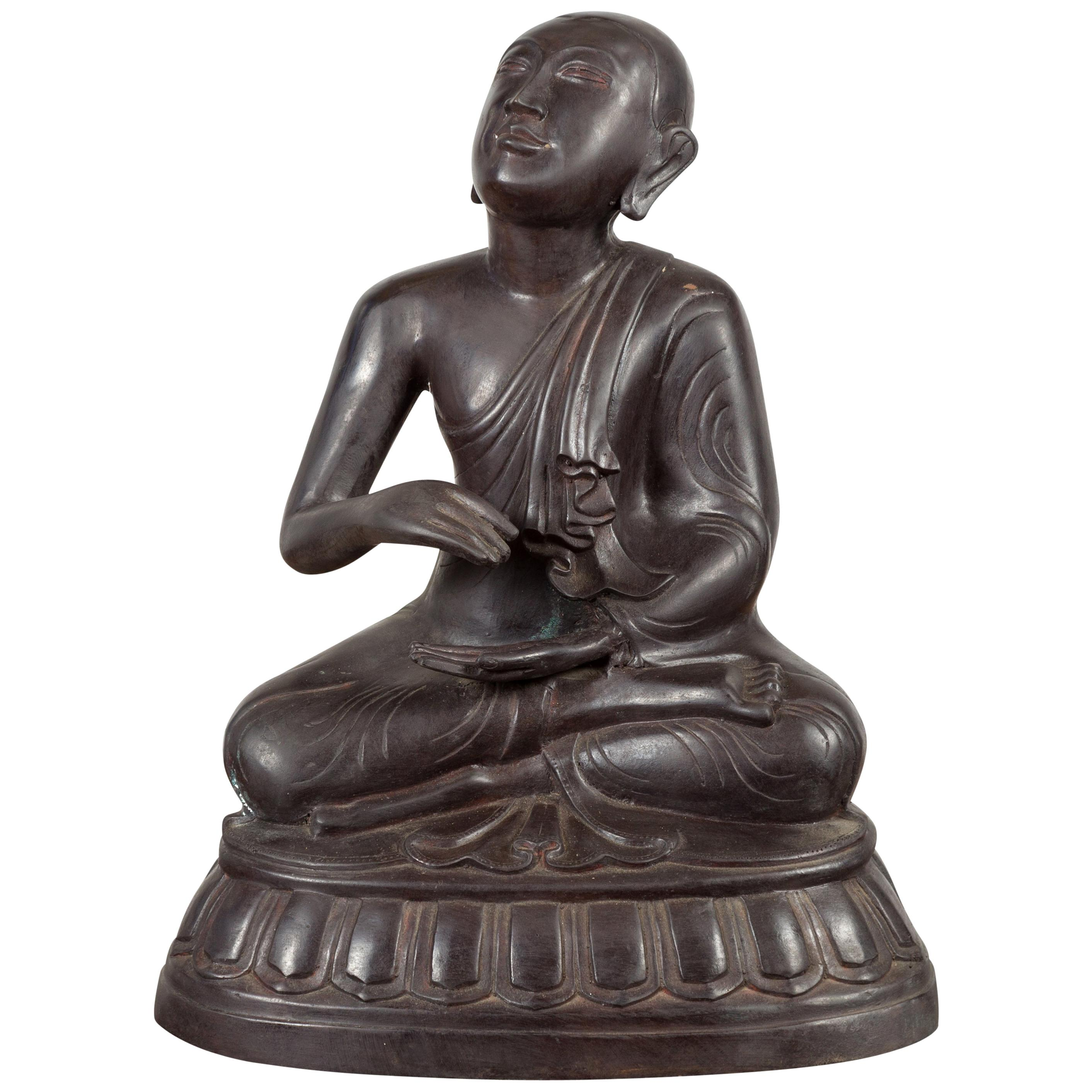 Vintage Bronze Lost Wax Sculpture Depicting a Praying Monk Sitting on a Base