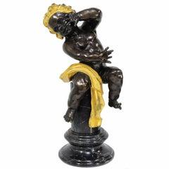 Vintage Bronze Marble French Neoclassical Style Cherub Putti Pedestal Sculpture