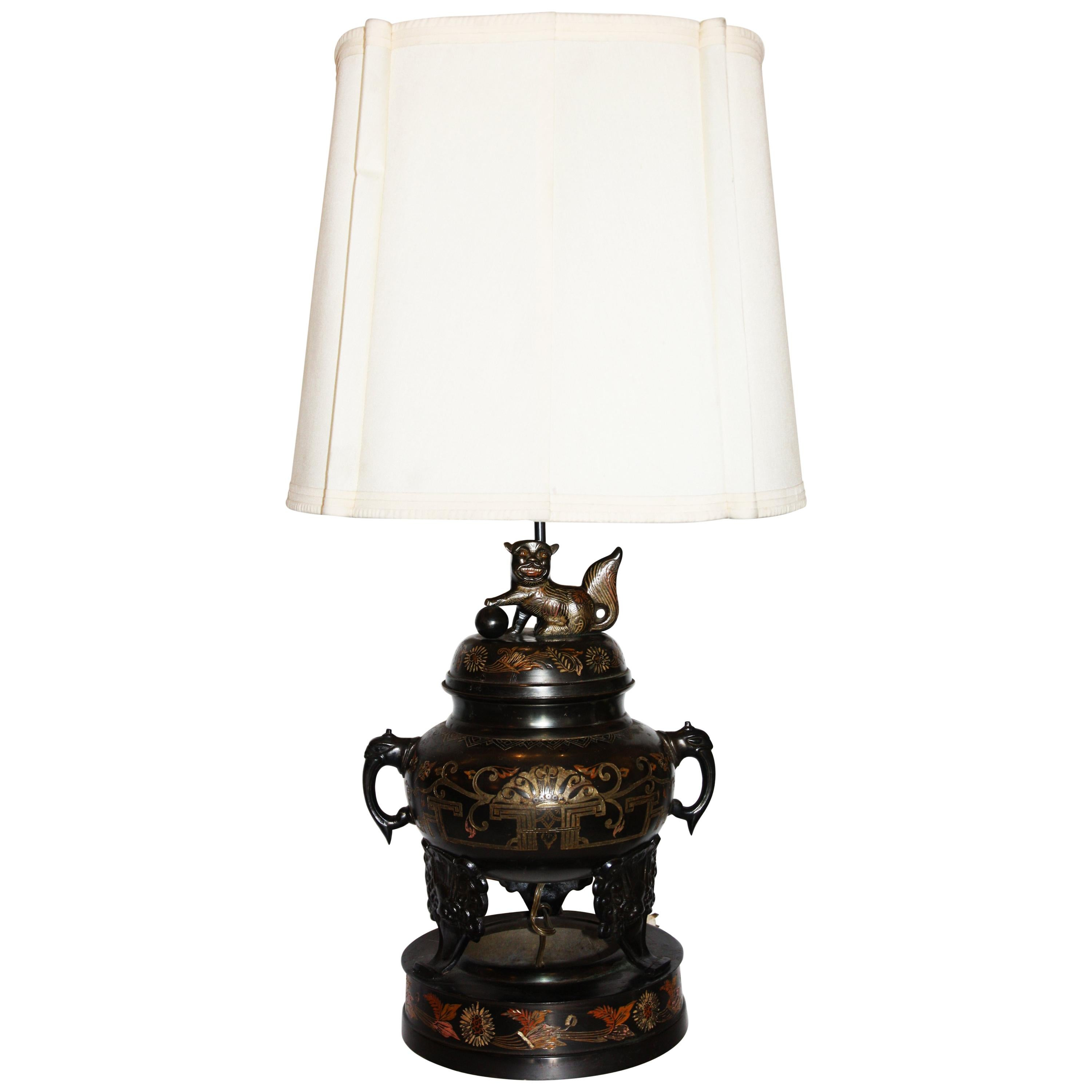 Vintage Bronze Marbro Urn Lamp with Makers Stamp