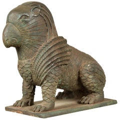 Vintage Bronze Mythical Griffin Style Animal Sculpture with Verde Patina