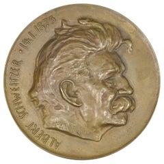 Vintage Bronze Plaque Medal Albert Schweitzer Paperweight by Louis Mayer