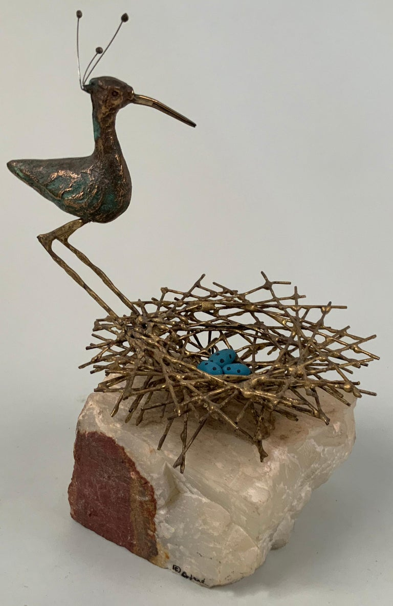 Mid-Century Modern Vintage Bronze Plover with Nest on Marble by Curtis Jere