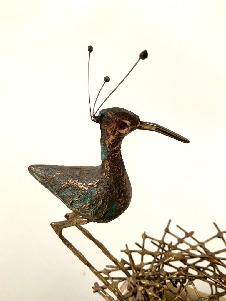 Vintage Bronze Plover with Nest on Marble by Curtis Jere In Good Condition In Hudson, NY