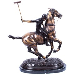 Vintage Bronze Polo Player Galloping Horse Sculpture, 20th Century