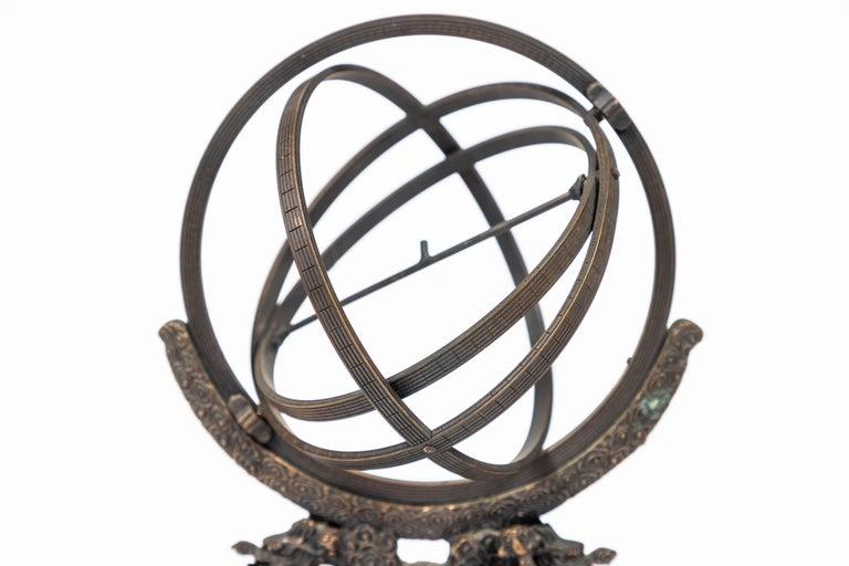 Vintage Bronze Rotating Sphere In Excellent Condition In Pasadena, CA