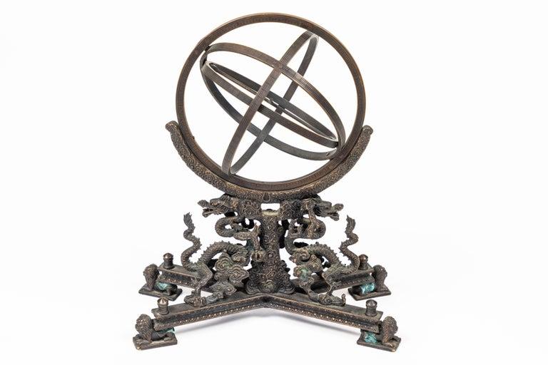 Vintage Bronze Rotating Sphere 4