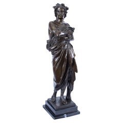 Vintage Bronze Sculpture of Roman Emperor on Marble Base 20th C