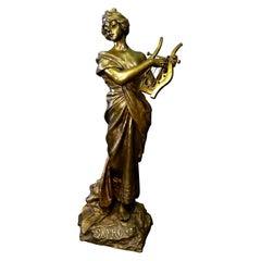 """Vintage Bronze Sculpture, """"Sapho"""" by E. Villanis"""