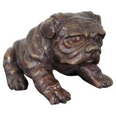 Vintage Bronze Seated Bulldog Puppy Dog Figurine Sculpture Paperweight