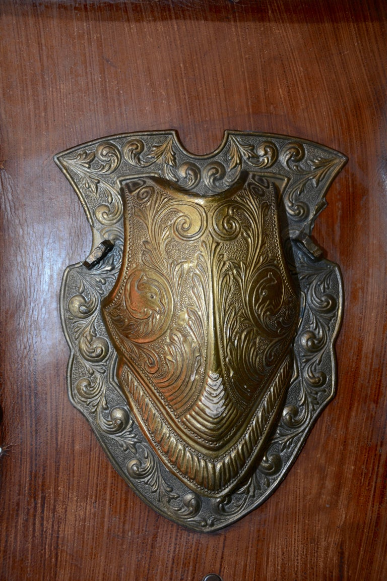Medieval Vintage Bronze Shield on Rustic Leather Scroll Wall Hanging For Sale