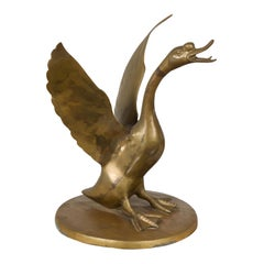 Vintage Bronze Statue of a Swan Extending its Wings with Golden Patina