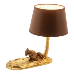 Vintage Bronze Table Lamp and Coin Dish 'Vide Poche' with a Red Squirrel
