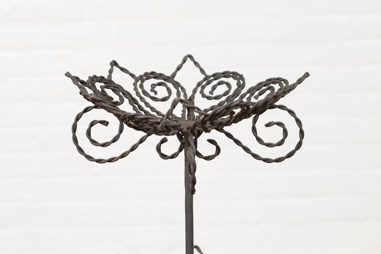 20th Century Vintage Bronze Three-Tiered Stand with Dark Patina and Scrolled Motifs For Sale