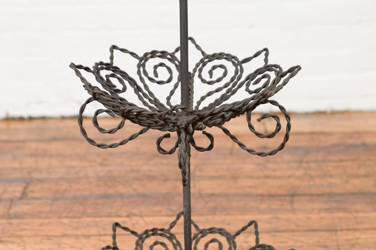 Vintage Bronze Three-Tiered Stand with Dark Patina and Scrolled Motifs For Sale 1