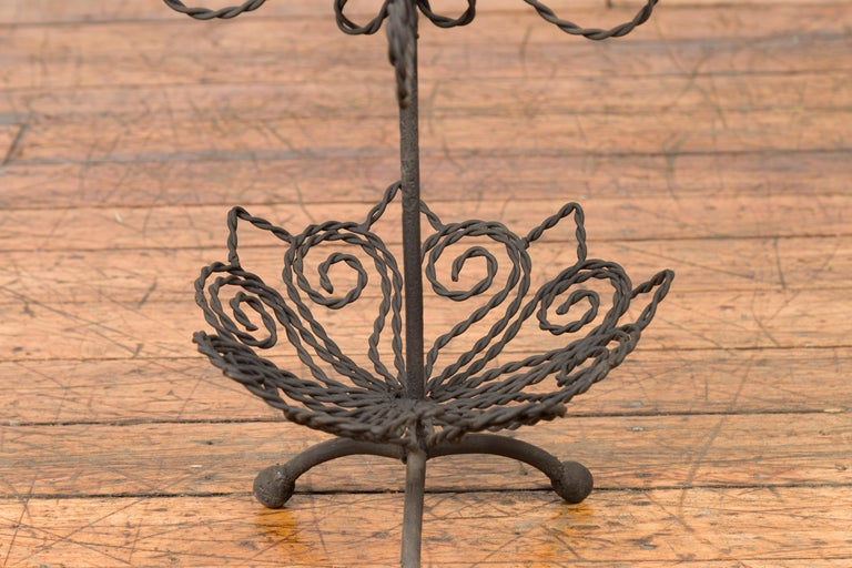 Vintage Bronze Three-Tiered Stand with Dark Patina and Scrolled Motifs For Sale 2