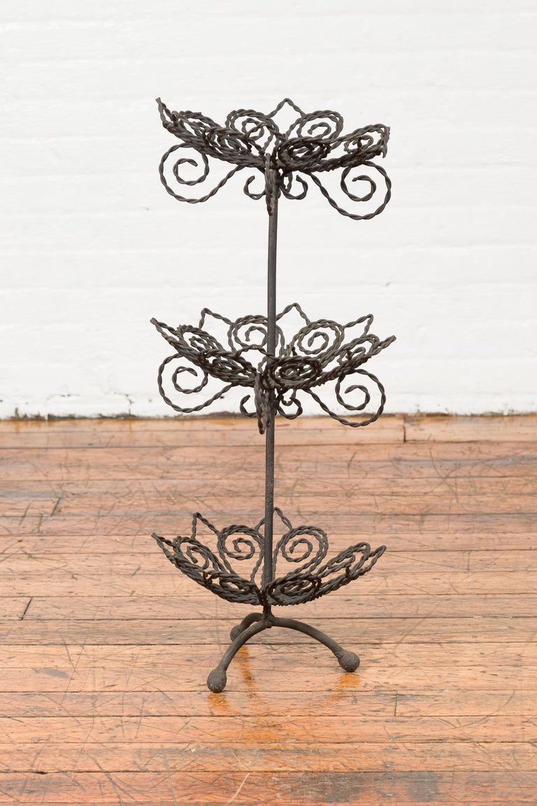 Vintage Bronze Three-Tiered Stand with Dark Patina and Scrolled Motifs For Sale 3