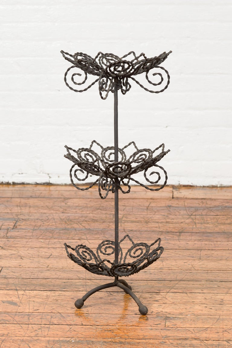 Vintage Bronze Three-Tiered Stand with Dark Patina and Scrolled Motifs For Sale 4