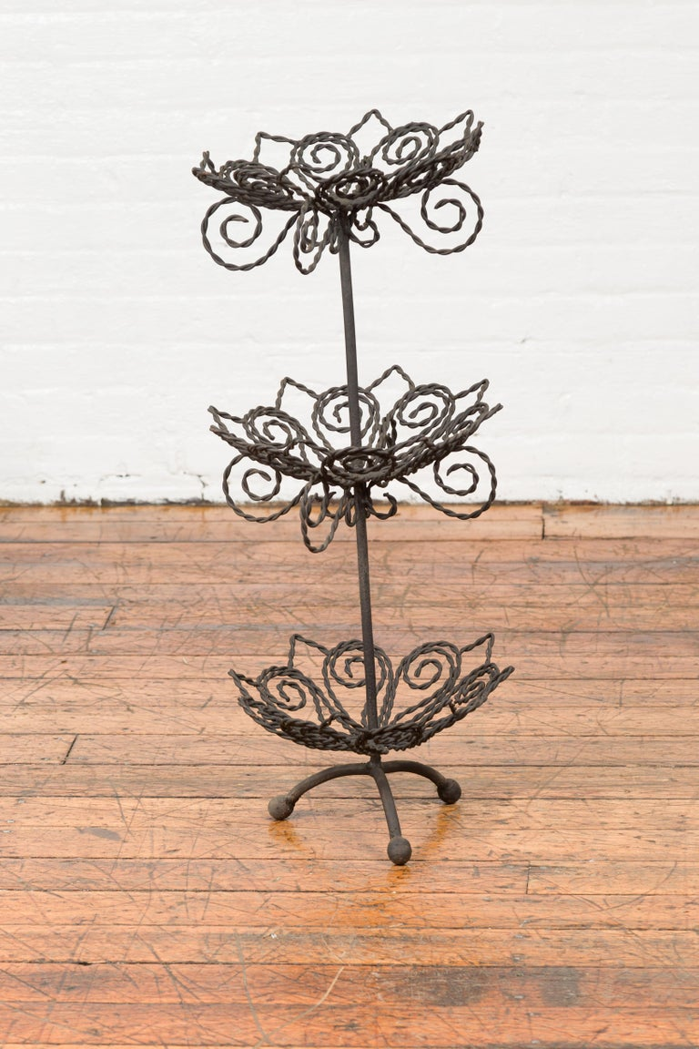 Vintage Bronze Three-Tiered Stand with Dark Patina and Scrolled Motifs For Sale 5