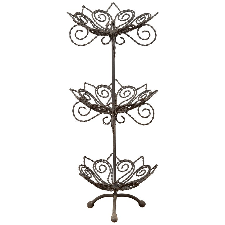 Vintage Bronze Three-Tiered Stand with Dark Patina and Scrolled Motifs For Sale