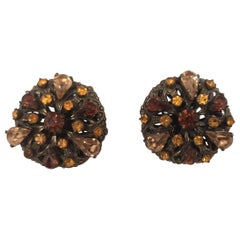 Vintage bronze tone amber swarovski stones clip on earrings
