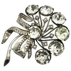 Vintage brooch signed EISENBERG sterling stylized floral pin 1940